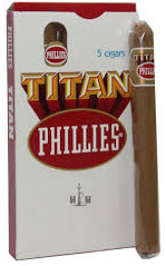Charuto Phillies Titan Natural - Box/5 Charutos. Original - 160 MM.