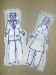 Boneco de Pano Casal - Para Simpatia    Branco