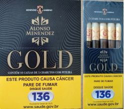 CIGARRILHA GOLD COM PITEIRA - Box C/ 10 caixas C/  5 Cigarrilhas cada.